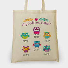 My Kids Are A Hoot Personalized Tote Bag