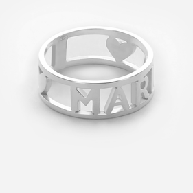 Name Ring with Heart