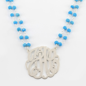 Natural Gemstone Necklace Personalized with Silver Monogram