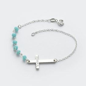 Natural Gemstone Personalized Silver Cross Bracelet