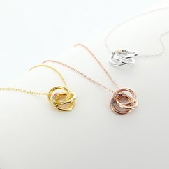 Love Knot Necklace Personalized with Birthstones in Sterling Silver