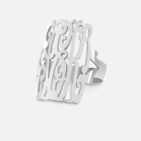 Sterling Silver Monogram Ring in Script