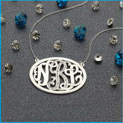Oval Monogram Necklace with stones in Silver