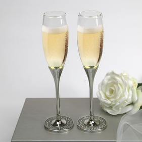 Pair Of Glitter Galore Toasting Flutes