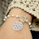 Pearl Bracelet with Sterling Silver Monogram