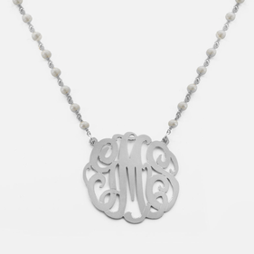 Pearl Necklace Personalized with Silver Scroll Monogram