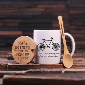 Personalized Coffee Mug w/Bamboo Lid & Spoon