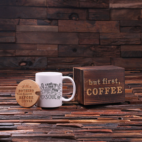 Personalized 12 oz. Coffee Mug with Lid & Tea Box