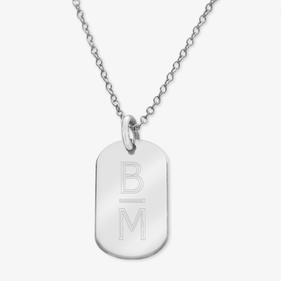 Personalized 2-Initial Sterling Silver Oval Necklace