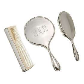 Personalized 3 Piece Dresser Set With Mirror, Brush and Comb