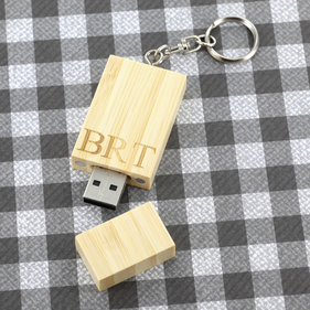 Personalized 4GB  Bamboo USB Flash Drive with Key-Chain