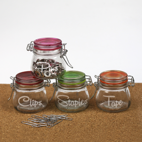Personalized 5.10 oz Colored Lid Mini-Jar Storage Set of Four