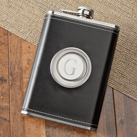Personalized 8oz Leather Flask with Folding Shot Glass