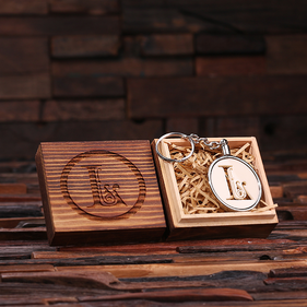 Personalized Acrylic Monogram Key Chain with Wood Box