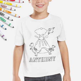 Personalized Add Color Dinosaur Kids T-Shirt
