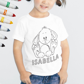 Personalized Add Color Kid's Bunny Rabbit T-Shirt