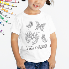 Personalized Add Color Kid's Butterfly T-Shirt