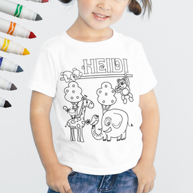 Personalized Add Color Kid's Friendly Animals T-Shirt