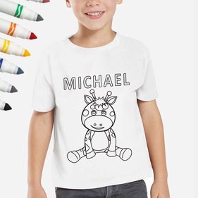 Personalized Add Color Kid's Giraffe T-Shirt