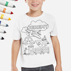 Personalized Add Color Kid's Planes Trains & Automobiles T-Shirt
