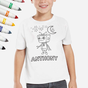 Personalized Add Color Robot Kid's T-Shirt