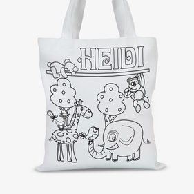 Personalized Add Color Kids Friendly Animals Tote Bag