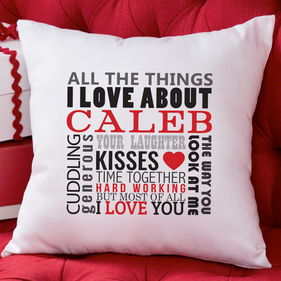 "Personalized ""All The Things I Love About"" Decorative Cushion Cover"