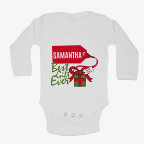 Personalized Baby Best Gift Ever Long Sleeve One-Piece Bodysuit
