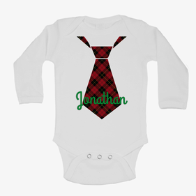 Personalized Baby Christmas Color Tie Long Sleeve One-Piece Bodysuit