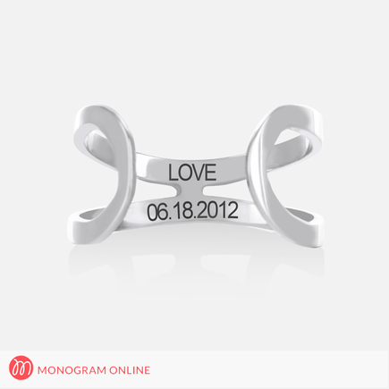 Personalized Backless Double Strap Ring