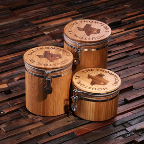 Personalized Bamboo Canisters