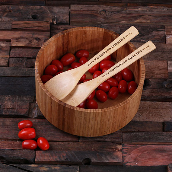 Personalized Bamboo Salad Utensils & Bowl