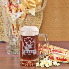 "The ""Mancave"" Personalized Beer Mug and Popcorn Gift Set"