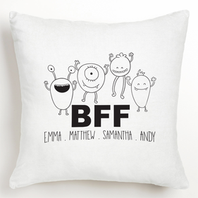 "Personalized ""BFF"" Design Cushion Cover"