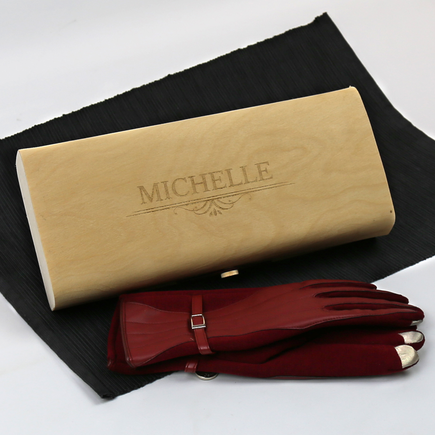 Personalized Birch Wood Veneer Gift Box With Gloves