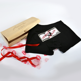 Personalized Birch Wood Veneer Gift Box With Sexy Boxer Shorts With Dollar Bill