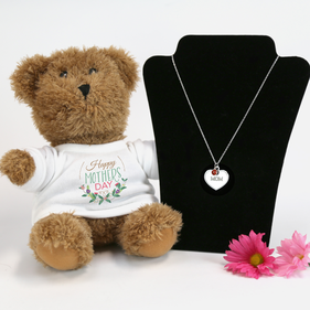 Personalized Birthstone Heart Necklace with Momma Bear Gift Set