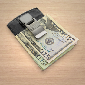 Personalized Black Money Clip and  Card Holder