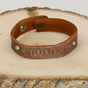 Personalized Block Engraved Name Leather Bracelet