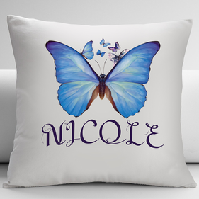 Personalized Blue Butterfly Decorative Cushion Cover