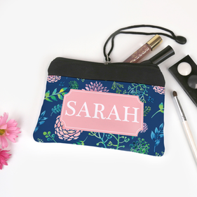 Personalized Blue Garden Design Cosmetic Bag