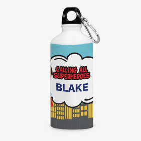 Personalized Superheroes Aluminum Water Bottle