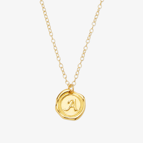 Personalized Necklace with Round Initial Charm Pendant