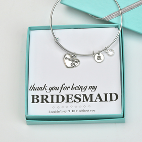 Bridesmaid Thank You Charm Bangle with CZ, Gift Boxed