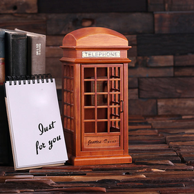 Personalized British Phone Booth Music Box