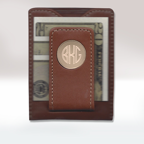 Personalized Brown Leather Money Clip