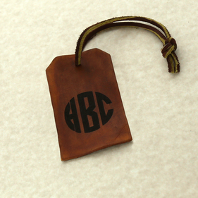 Personalized Brown Leather Monogram Luggage Tag