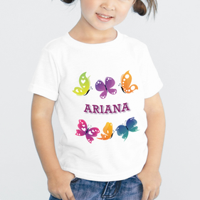 Personalized Butterfly Girls T-Shirt