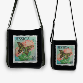 Personalized Butterfly Stamp Black Crossbody Messenger Bag