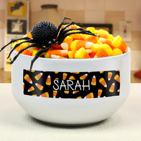 Personalized Candy Corn Ceramic Bowl